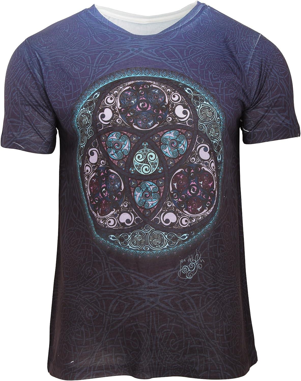 Camiseta de manga corta con diseño celta de triskel para hombre (Pequeña (S)/Azul): Amazon.es: Ropa y accesorios