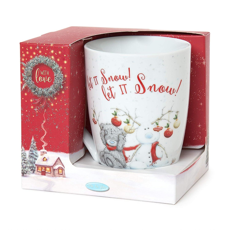 Christmas Xmas Mug and Teddy Gift Set Present – Santa Reindeer Bear Snowman