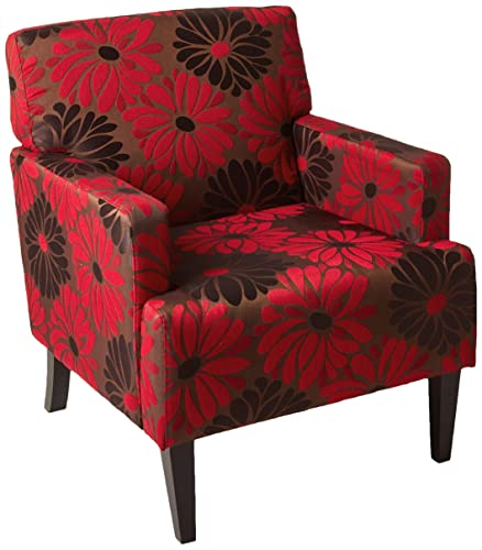 AVE SIX Carrington Arm Chair with Espresso Finish Wood Legs, Groovy Red Fabric