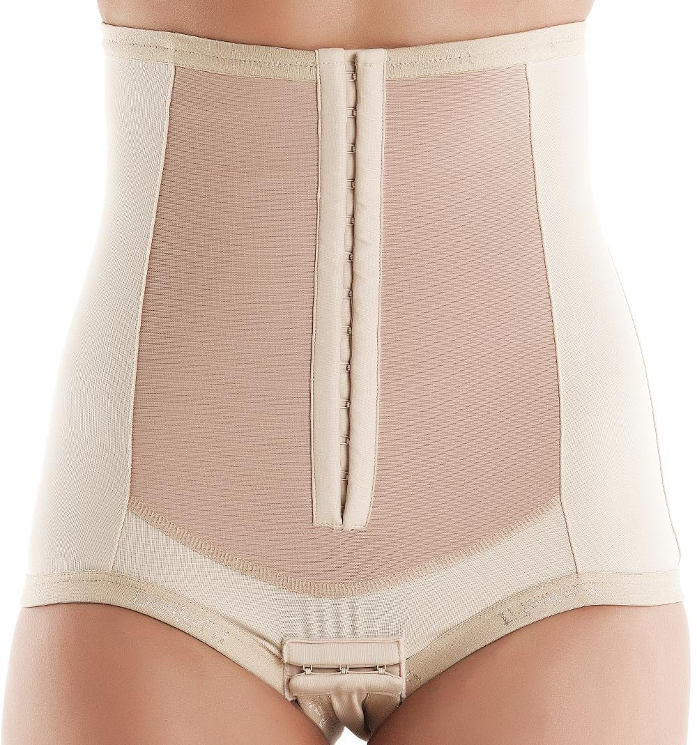 Postpartum Girdle Corset - C-Section Recovery, Incision Healing, Compression Abdominal Binder - Medical-Grade Bellefit Corset with Hooks, Small