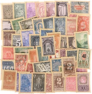 XIDAJIE Vintage Scrapbooking DIY Stickers, Postage Stamp Flake Stickers, DIY Label for Diary Journal Antique Retro Collection Art Craft Notebook Embellishment Supplies, 100 Pieces