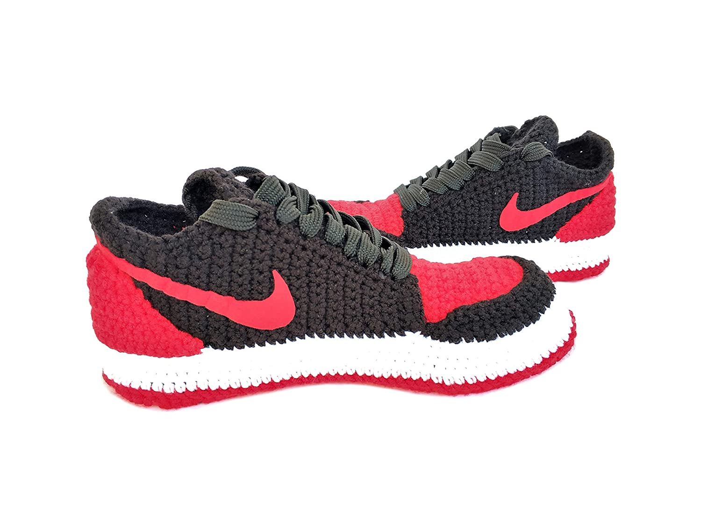 d36d47e26 Amazon.com  Crochet Air Jordan 1 Retro Basketball Flyknit Sneaker Custom  Jumpman Knitting Slippers BRED TOE  Handmade