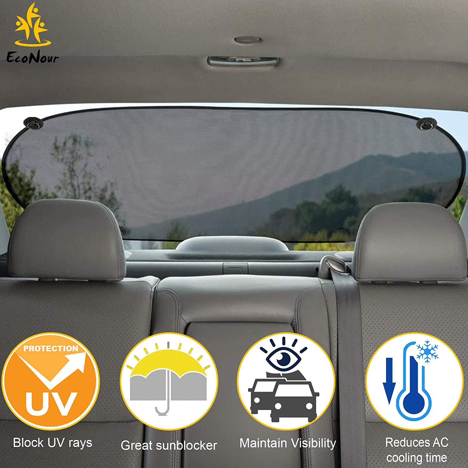 UV//Sun//Glare Protection for Baby Fit for Car//SUV//Truck 40 x 20 Inch EcoNour Car Rear Window Sunshade Screen Mesh Cover Universal Mesh Back Window Visor with Suction Cup