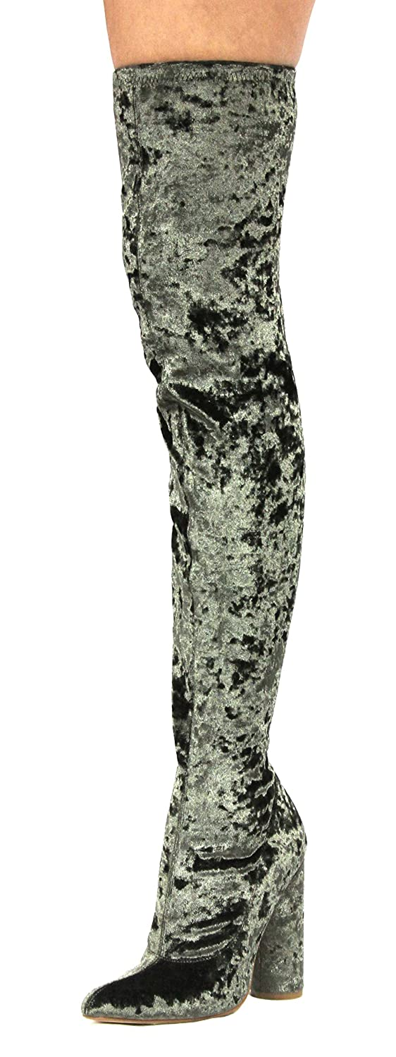 CAPE ROBBIN Paw-27 Crushed Velvet Stretchy Pointy Toe Thigh High Over Knee Block Heel Boot B075JRS2P4 8.5 B(M) US|Olive