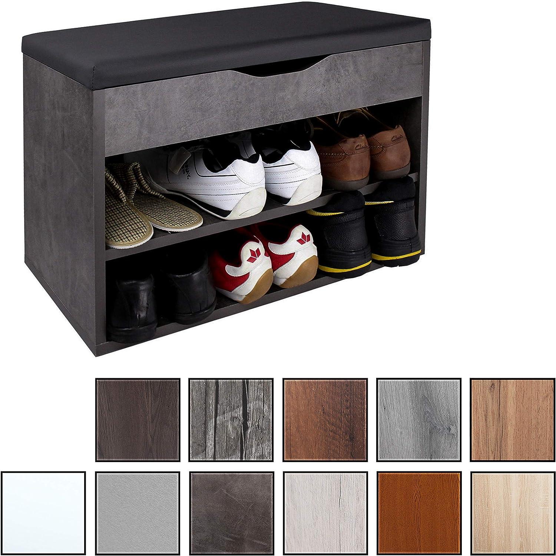 RICOO WM032-BG-A, Banco Zapatero, 60x42x30cm, Armario Interior con Asiento, Organizador Zapatos, Mueble recibidor, Perchero, Madera Gris Cemento