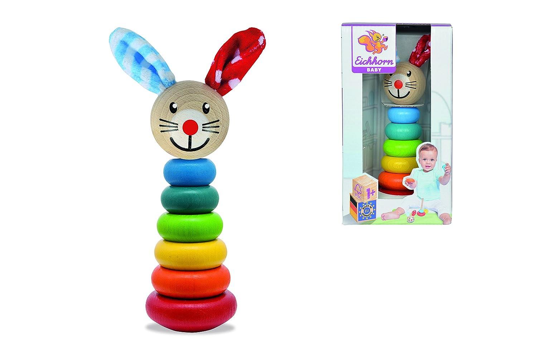 FSC 100/% Zertifiziertes Buchenholz 6 Ringe mit Steckkopf Made in Germany Simba Toys Für Babys ab 12 Monaten Non Books Non Books // Spielzeug Baby Steckfigur mit Hasenmotiv Eichhorn 100017019 18cm
