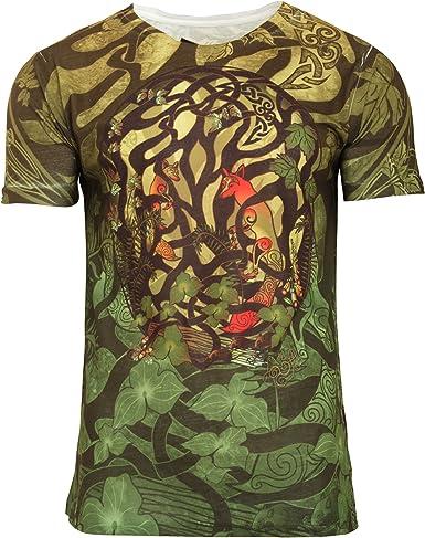 Camiseta de manga corta con diseño de bosque celta y zorros para hombre (Pequeña (S)/Multicolor): Amazon.es: Ropa y accesorios