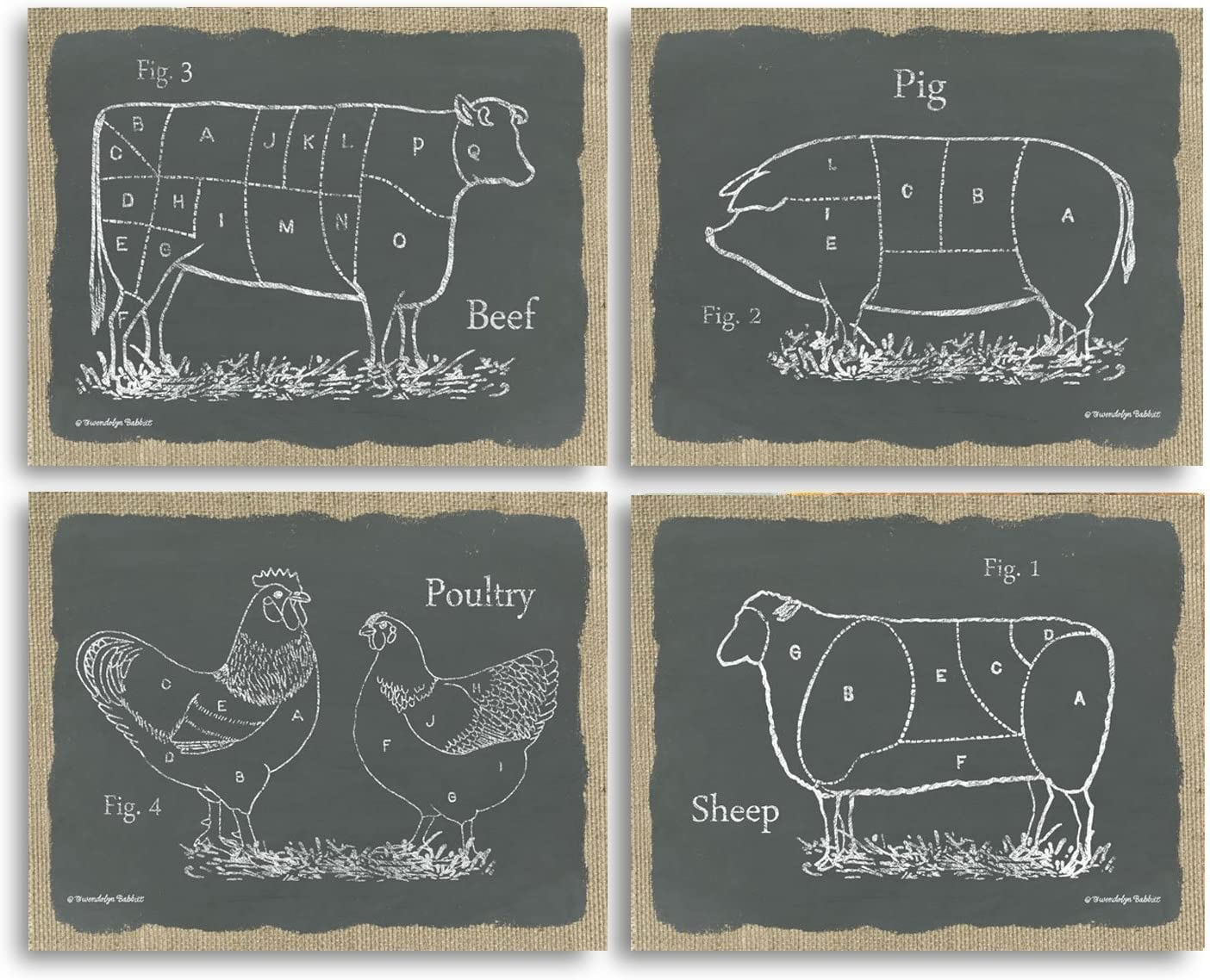 Gango Home Decor Chalkboard and Burlap Style Kitchen Art Sectioned Farm Animals Cow, Pig, Lamb, Chicken, Four Poster Prints