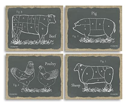 Attirant Gango Home Decor Chalkboard And Burlap Style Kitchen Art Sectioned Farm  Animals Cow, Pig,
