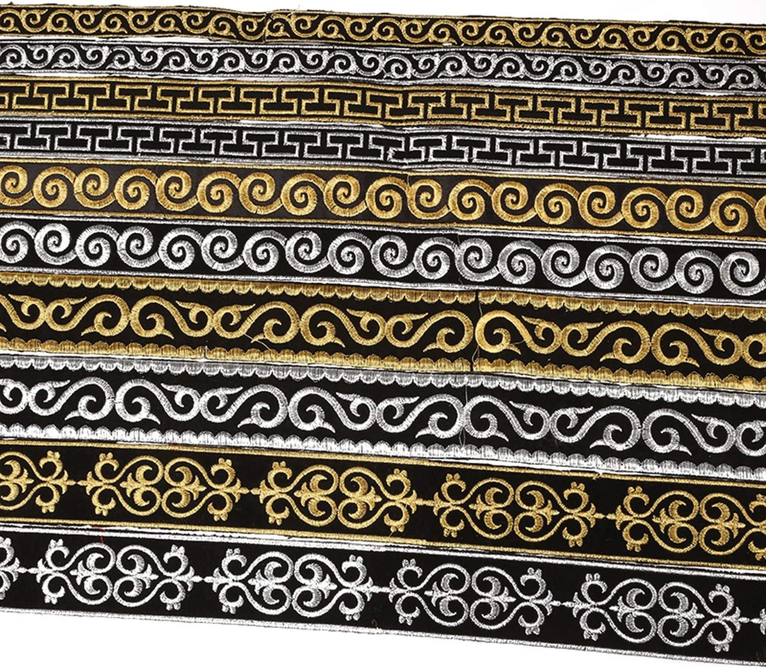 4 Meters//lot Width 2//2.5//3//5cm Gold Silver Ethnic Embroid Lace Trim Jacquard Ribbon for Garment Accessories DIY Craft Making,Gold 2.5cm