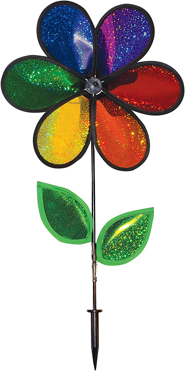 """In the Breeze Rainbow Sparkle Flower Spinner with Leaves, 12"""""""