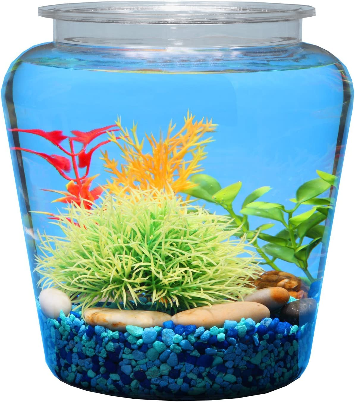 Koller Products 1-Gallon Fish Bowl, Shatterproof Plastic with Crystal-Clear Clarity, 7.25 DIA x 8 H Inches, Model Number: 49146000130