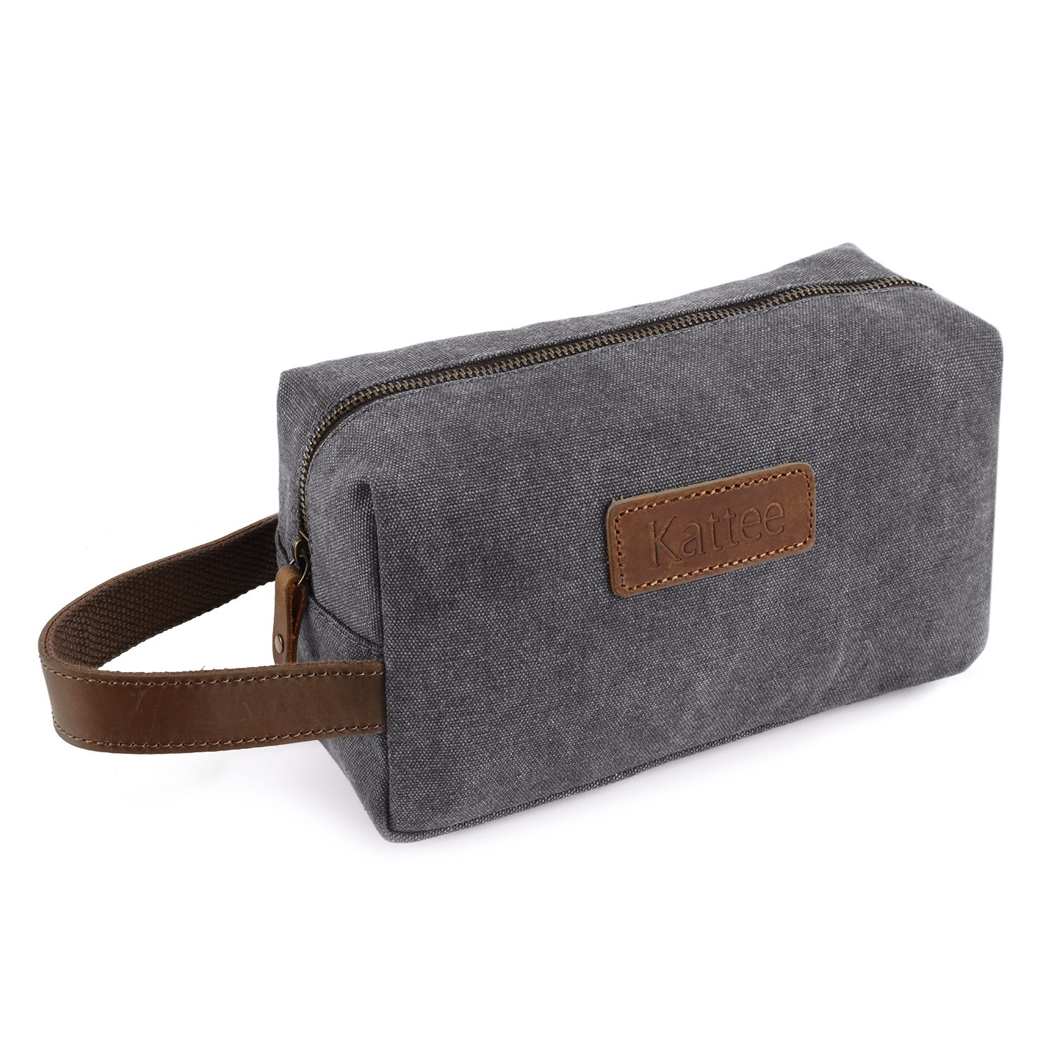 Kattee Mens Travel Toiletry Bag, Canvas Leather Cosmetic Makeup Organizer Shaving Dopp Case (Gray)
