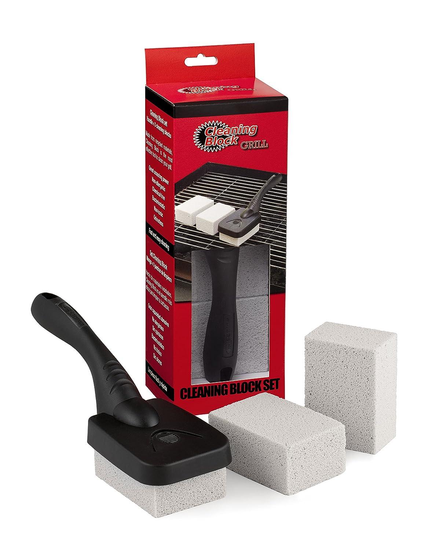 Cleaning Block 10014EI - Pack de 3 herramientas de limpieza con mango, para el barbacoa