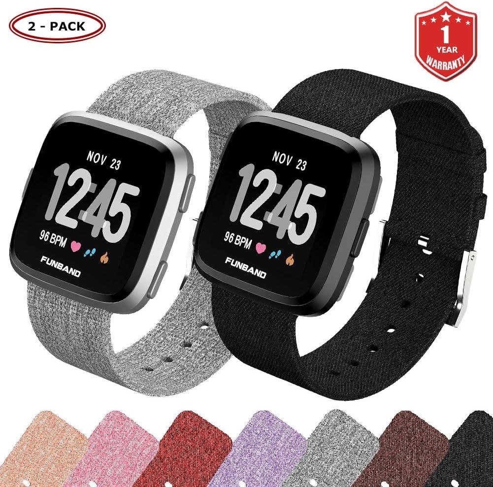 FunBand Fitbit Versa/Versa 2/Versa Lite Correa Tejida, Edición Correa de Repuesto para Mujeres Hombres de Liberación Rápida Correa para Fitbit Versa/ Versa 2/Versa Lite Reloj Inteligente: Amazon.es: Deportes y aire libre