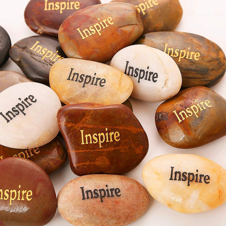 "ROCKIMPACT 50PCS Inspire Inspire Stones Encouragement Gifts Engraved Inspirational Stones Bulk Zen Healing Chakra Balancing Inspiring Rocks Prayer Stones Wholesale Inspire Rocks,2""-3"" Each"