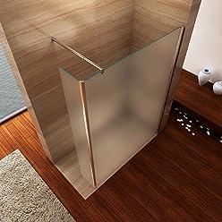 i-flair Satinierte Seitenwand 30cm x 200cm inkl. Eckprofil, Spritzschutz für Walk In Dusche, 10mm STARK, aus ESG Sicherheitsglas zum Nachrüsten (Satiniertes Glas)