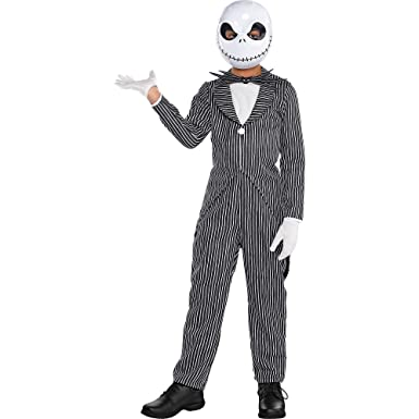 0f687e3023e0d Amazon.com: The Nightmare Before Christmas Jack Skellington Pinstripe  Halloween Costume for Boys, Large,with Accessories: Clothing