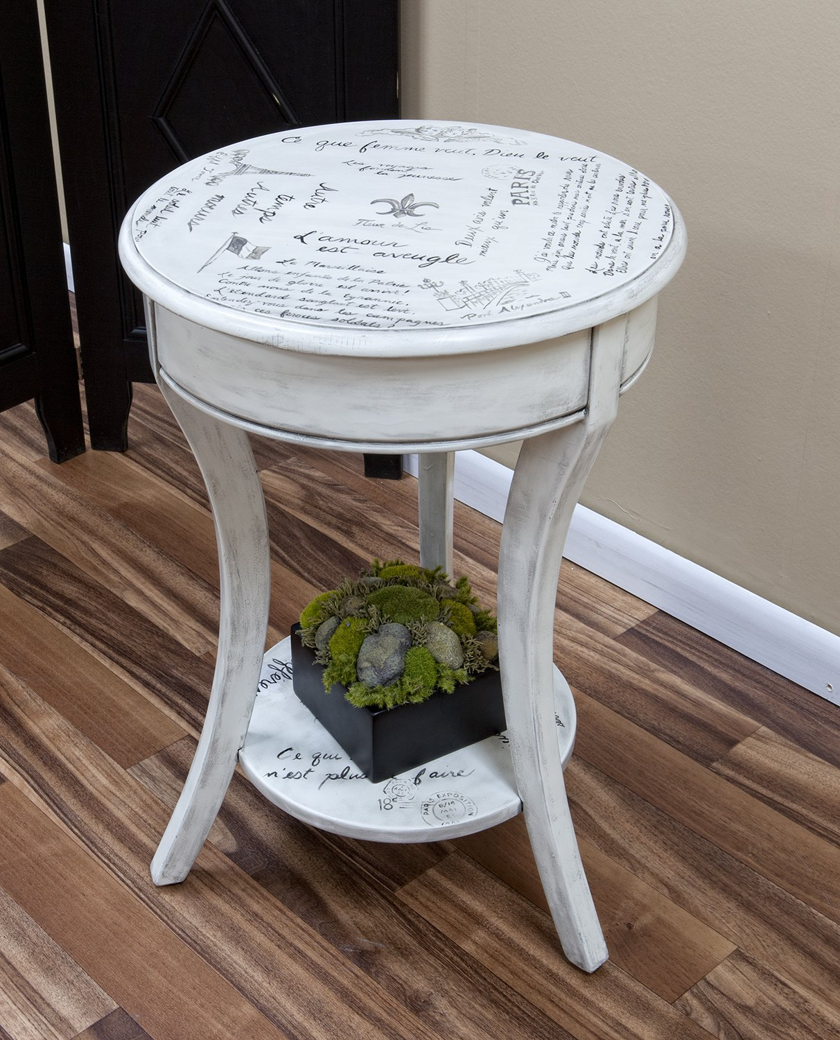 Amazon.com: Carolina Chair And Table Vintage Cream Parisian Script Accent  Table: Kitchen U0026 Dining
