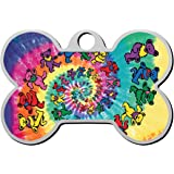 Pet ID Dog Tag Tie Dye Dead Spiral Bears Personalized Custom Pet Tag with Pets Name & Contact Number - Engraved Front & Back