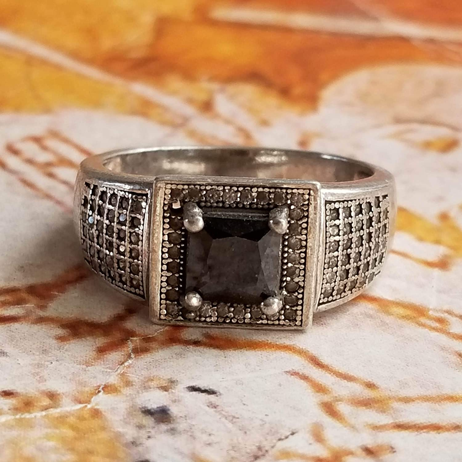 KONOZ Antique Handmade 925 Sterling Silver Ring Genuine Black Topaz Stone