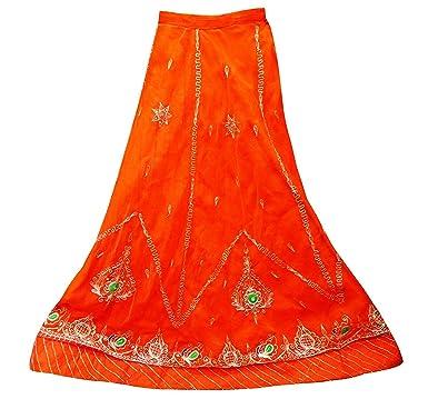 PEEGLI Indio De Rajastán Diseñador Lehenga Textil Falda Bordada ...