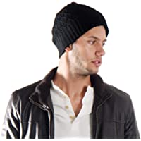 Simplicity Winter Criss Cross Knit Fleece Lined Ski/Snowboard Beanie Hat (Black)