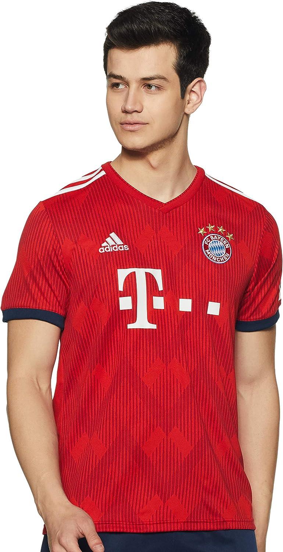 adidas FCB H JSY FC Bayern München - Camiseta réplica para Hombre, Color Rojo y Blanco Hombre
