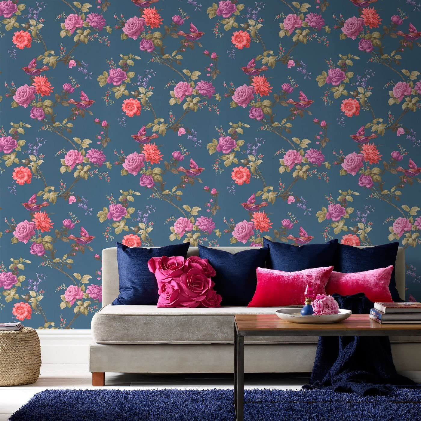 Fresco Great Value Oriental Floral Birds White Multi Wallpaper
