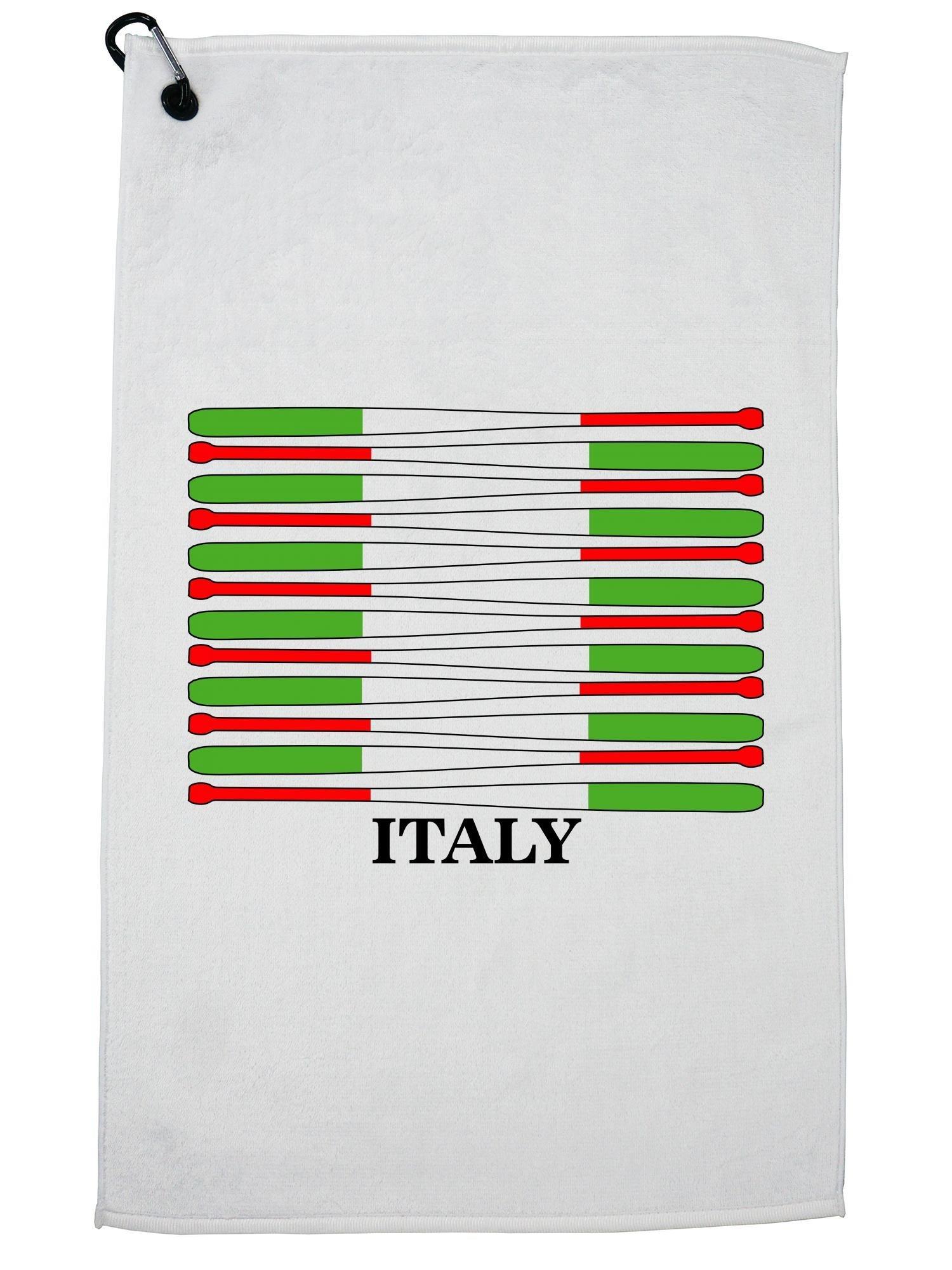 Hollywood Thread Italy Baseball Classic - World Vintage Bats Flag Golf Towel with Carabiner Clip