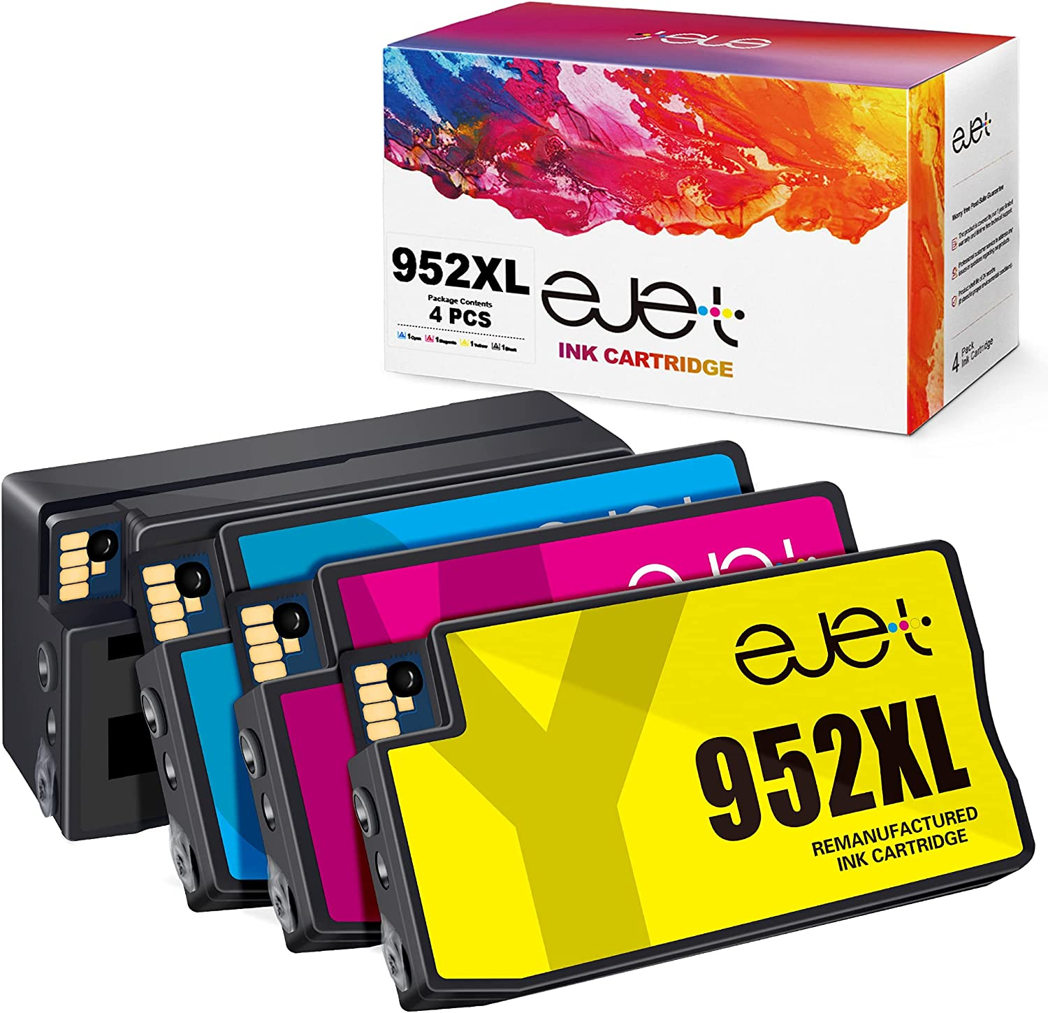 ejet Remanufactured 952 XL 952XL Ink Cartridges Replacement for HP 952XL Ink Cartridges Combo Pack for OfficeJet Pro 8710 8720 7740 8740 7720 8715 Printer(1 Black,1 Cyan,1 Magenta,1 Yellow, 4-Pack)