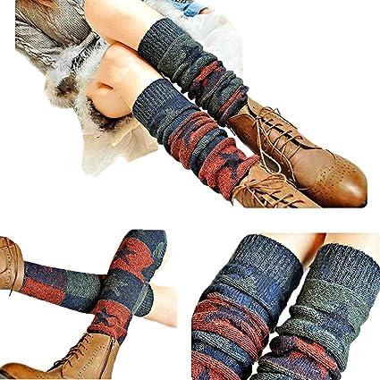 Butterme Ladies Girls Calcetines Hasta La Rodilla de Invierno Knit Crochet Warm Leg Warmer(Vino