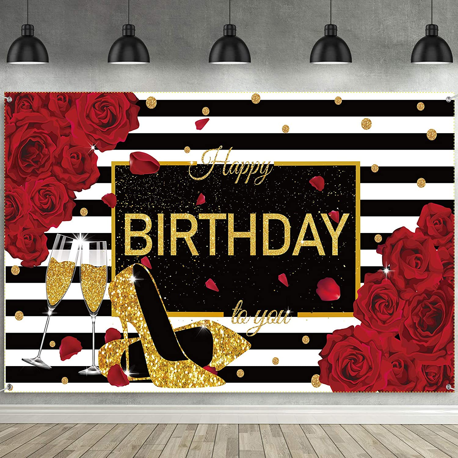 Happy Birthday Backdrop Women Adults Red Rose Party Decorations Golden Heels Champagne Glass Party Banner Background Photography for 30th 40th 50th 60th 70th 80th Party Supplies 72.8 x 43.3 Inch