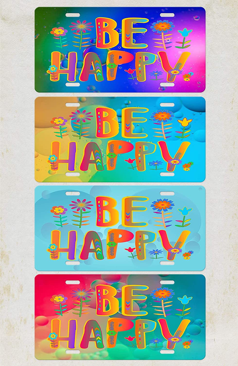 Be Happy Quote..Vivid Fun Colorful on a Bubbles RAINBOW background metal Vanity Car License Plate tag