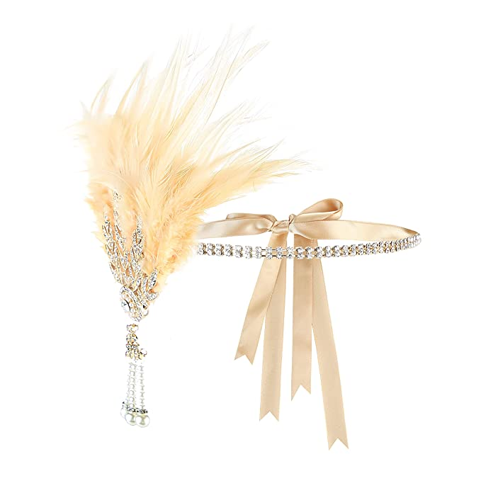 1920s Headband, Headpiece & Hair Accessory Styles Metme 1920s Headpiece Feather Rhinestone Headband Great Gatsby Flapper Hair Accessories $14.99 AT vintagedancer.com