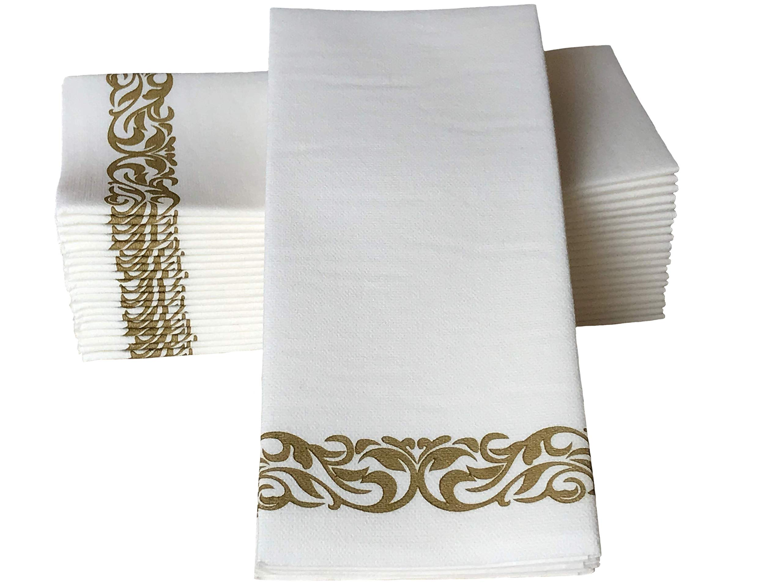 Haven Needs 100 Disposable Decorative Cloth-Like Table Napkins/Bathroom Hand Towels - Strong Yet Soft & Absorbent Premium Paper Guest Towels - Elegant and Luxurious - for Parties Weddings Events by Haven Needs