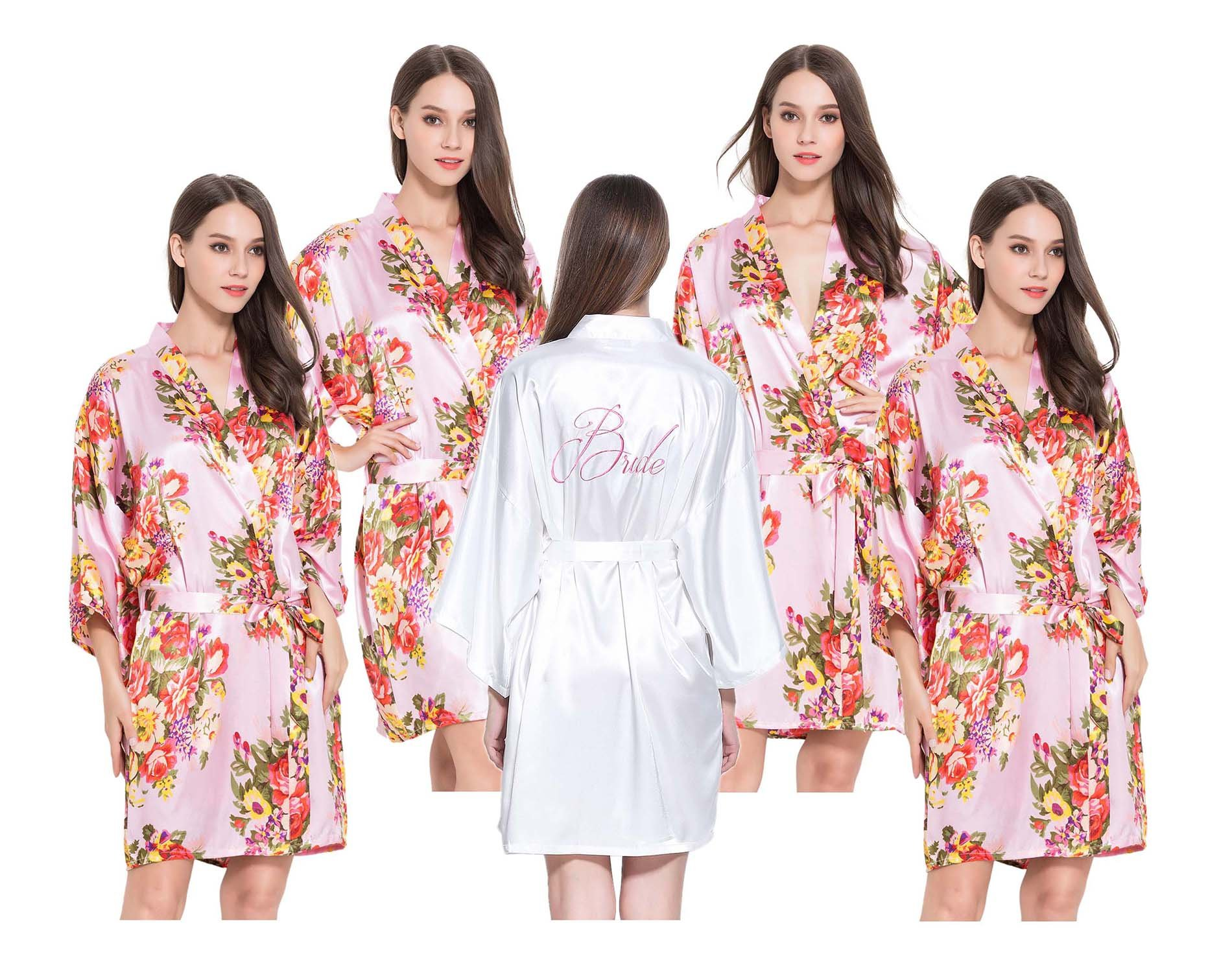 Modern Celebrations 5 Satin Robes, 1 Ivory Bride, 4 Pink Floral Bridesmaid, One Size Fits 0-14