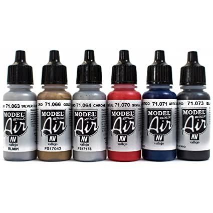 Airbrush Farben 6 X 17 Ml Vallejo Model Air Metallic Farben Set