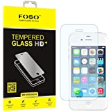 FOSO(™) Apple iPhone 4/4S 2.5D Curved Edge 9H Hardness Toughened Tempered Glass Screen Guard Protector