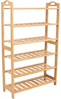 BirdRock Home Free Standing Bamboo Shoe Rack With Handles | 6 Tier | Wood |  Closets