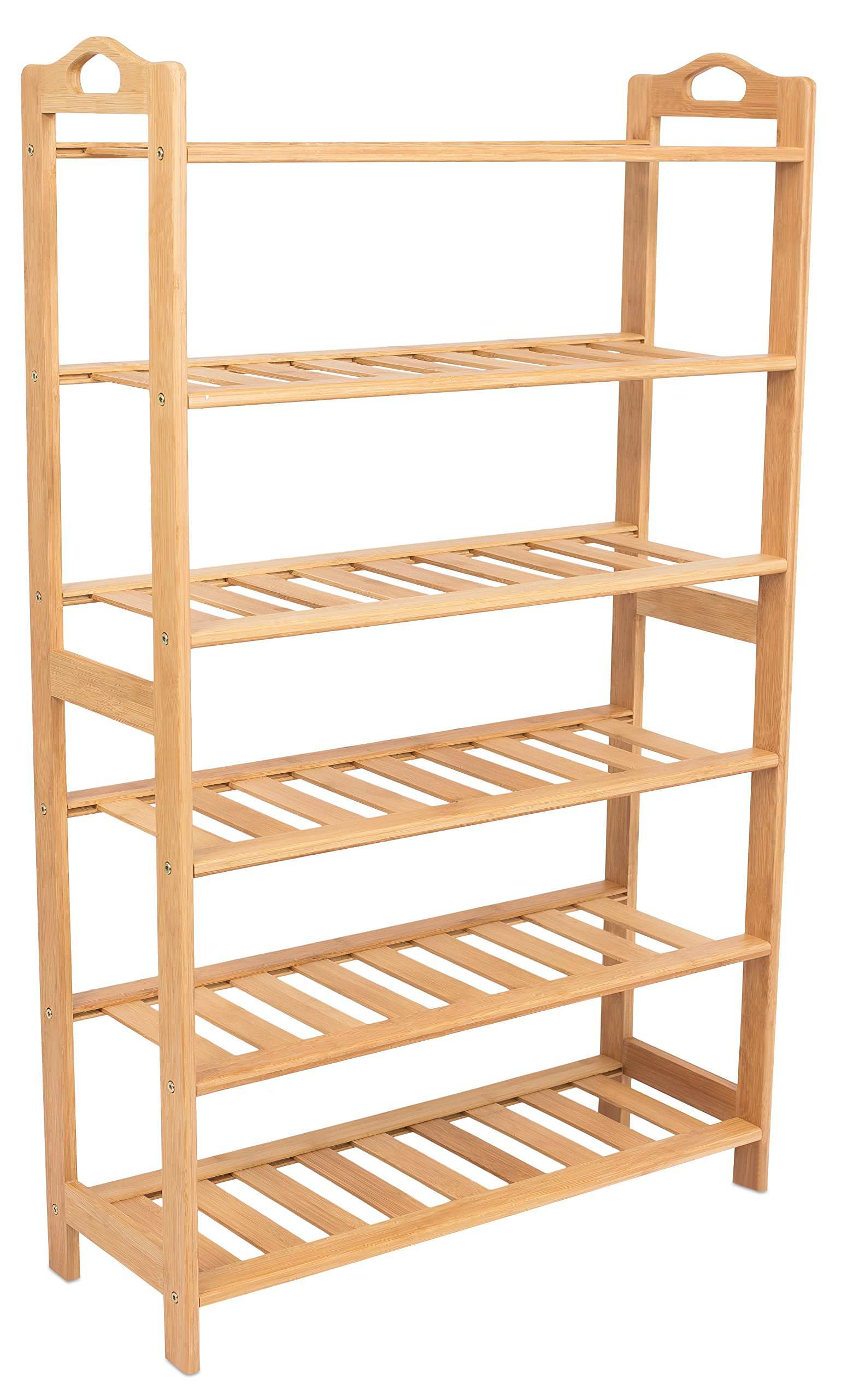 BirdRock Home Free Standing Bamboo Shoe Rack with Handles | 6 Tier | Wood | Closets and Entryway | Organizer | Fits 18 Pairs of Shoes