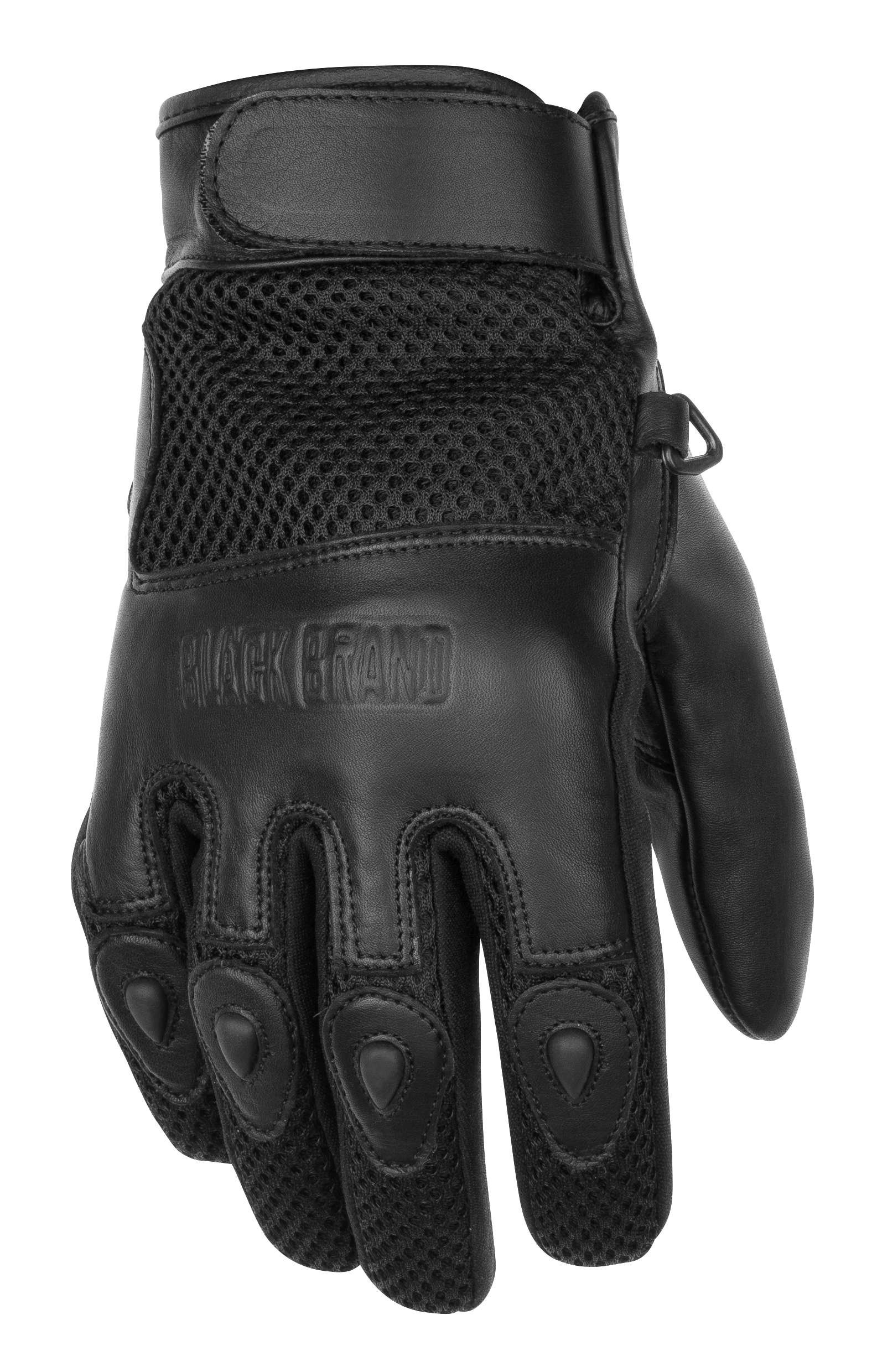 Black Brand Men's Leather/Mesh Challenge Motorcycle Gloves (Black, X-Large)
