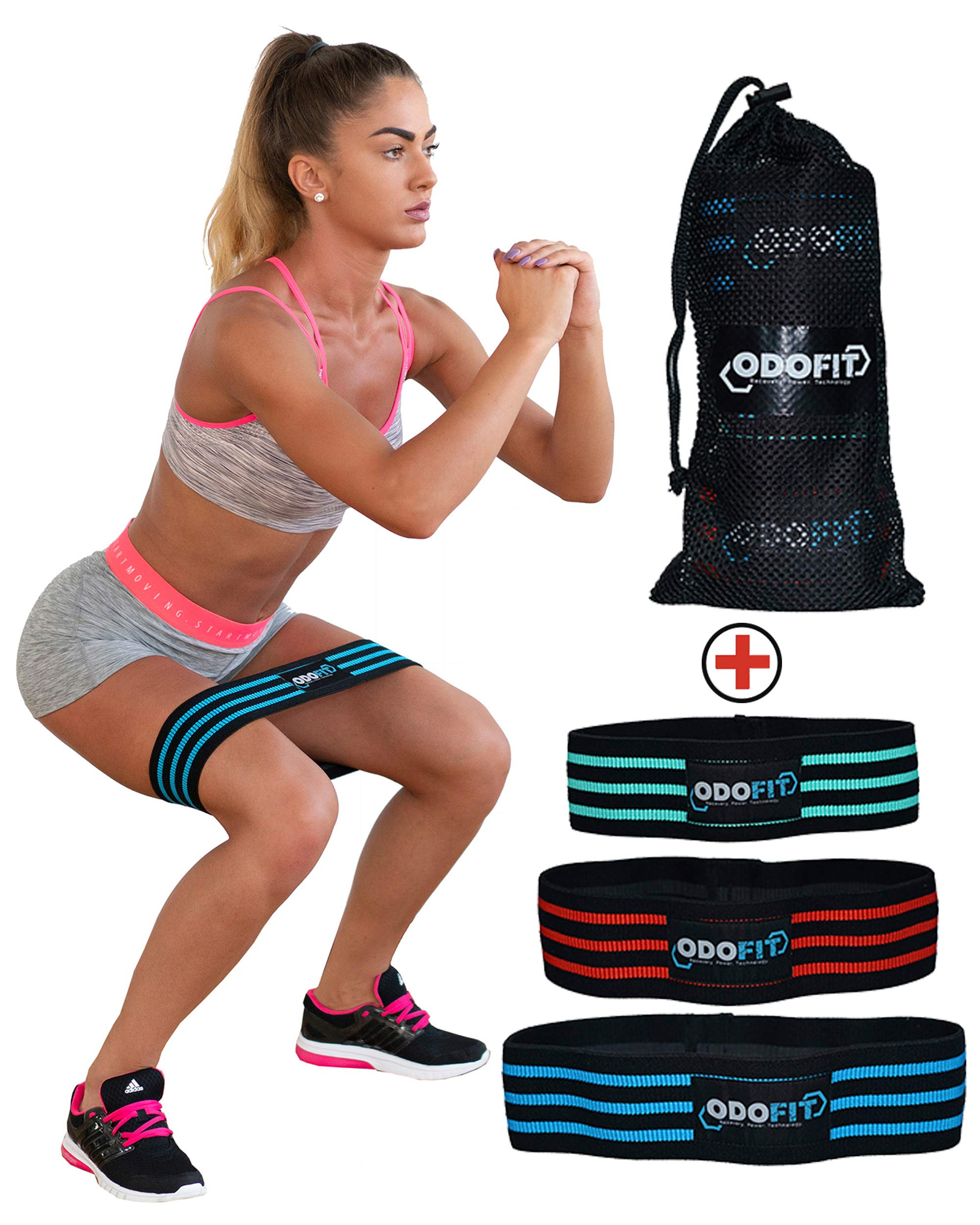 NEW Booty Resistance Bands Hip Loop Bands for Legs and Butt Workout -Set of 3 Fabric Non Slip Glute Elastic Exercise Band for Warm-Up and Squat -Activate Quads & Thighs, Thick, Wide Cloth, Women