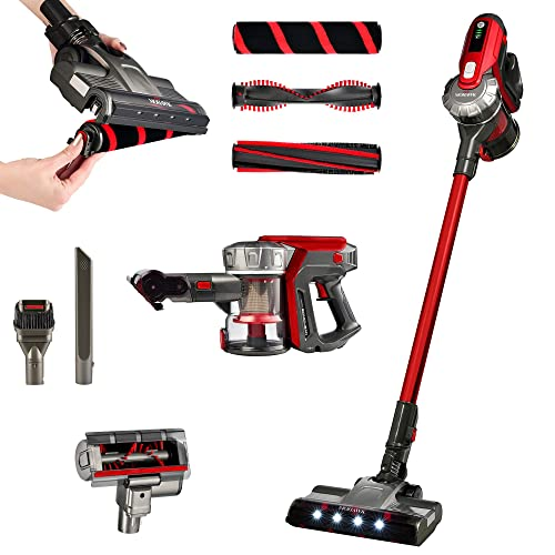 Mohawk STV-1 Cordless Stick Vacuum – Designed with The Leading Global Manufacturer of Floors Carpets – Powerful Digital Motor – 3 Unique Brushroll Technologies – 3-Stage HEPA Cyclonic Filtration