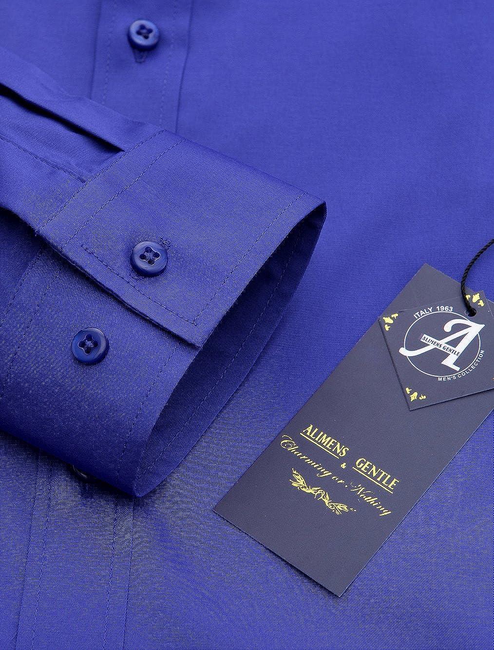 Alimens /& Gentle Mens Poplin Elastic Long Sleeve Bussiness Dress Shirts