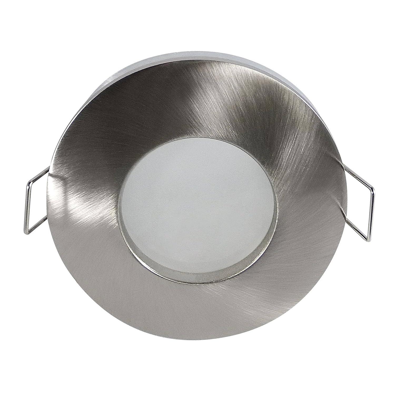 ambienti umidi/Bagnato spazio lampada–Outside–rotondo–IP65, Nichel spazzolato, MR16/Attacco GU 5.3–Confezione da pezzi MR16/Attacco GU 5.3-Confezione da pezzi LDD 6159-SN-V