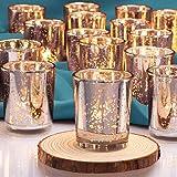 DEVI Silver Votive Candle Holders(24pcs)- Mercury Glass Tealight Candle Holder Bulk- Centerpieces for Wedding Table…