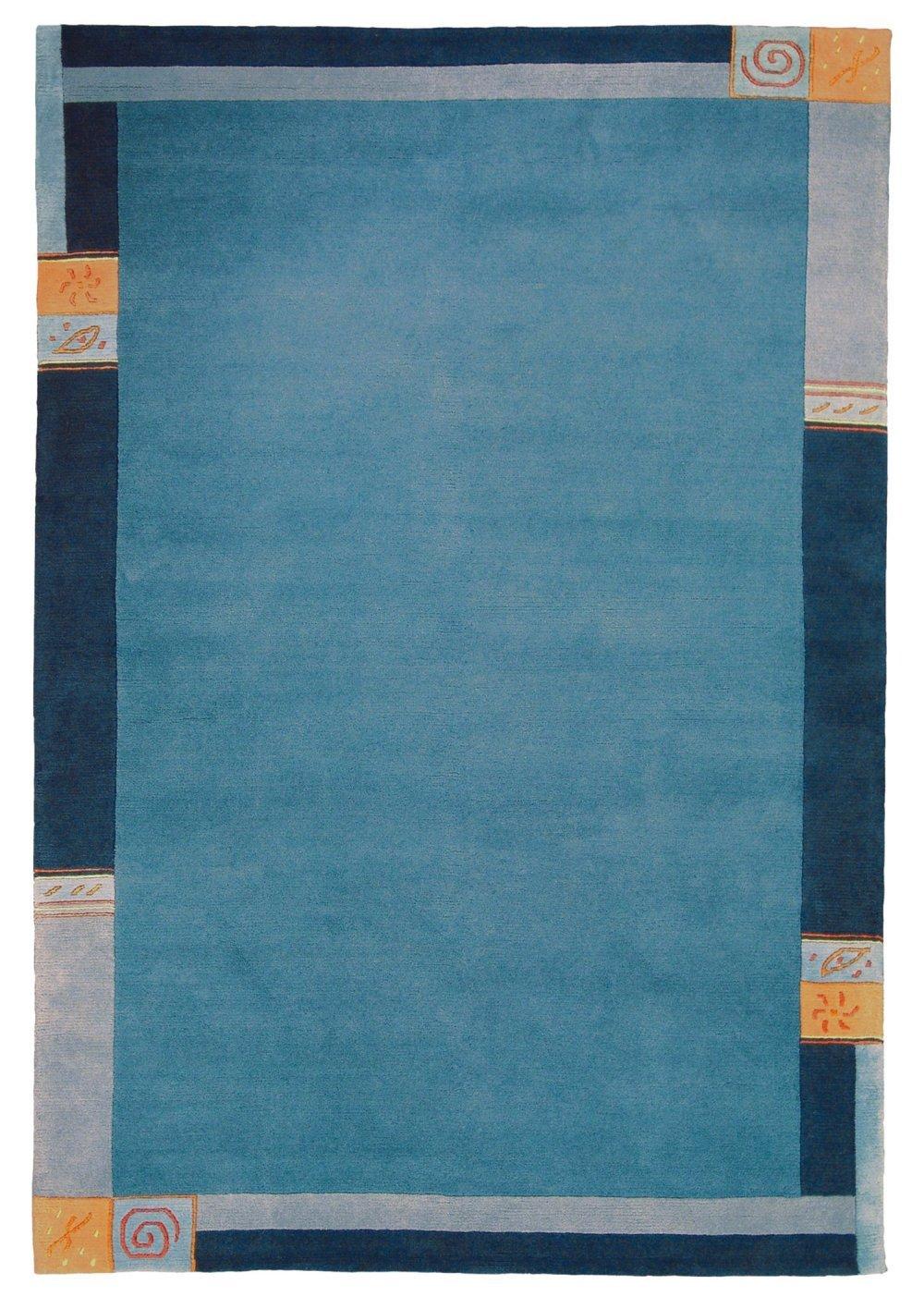 Sona-Lux Nepal Teppich handgeknüpft blau