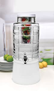 Circleware Big Window Glass Beverage Dispenser with Base Metal Stand Transforms Bucket Lid, Fruit Infuser and Ice Insert, Entertainment Kitchen Drinking Glassware, Huge 2.4 Gallons, Black