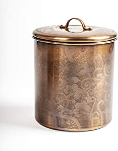 NuSteel Etched 2 QT Stainless Steel, Beautiful Food Storage Container for Kitchen Counter, Tea, Sugar, Coffee, Caddy, Flour Canister with Rubber Seal lid, Copper Antique